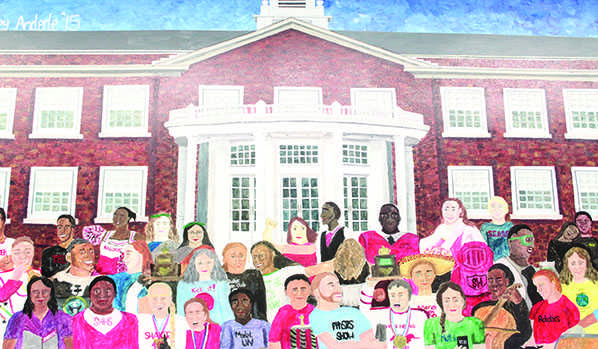 Audrey Anderle ('15) crafted a mural for her senior project displaying the diversity in Shaker. The mural depicts Shaker students in various clubs and sports including Model United Nations, cheerleading, robotics, choir, orchestra and MAC Scholars.