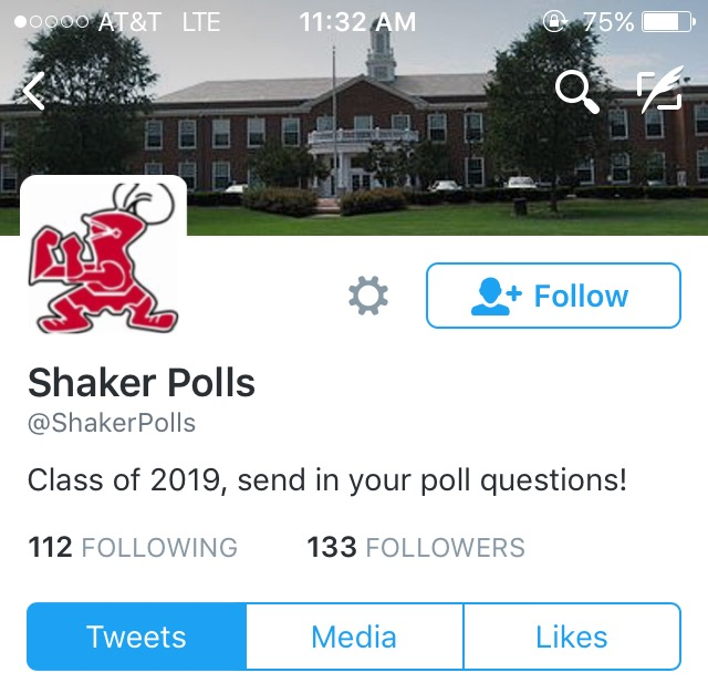 Profile of the Shaker Polls twitter account invites the class of 2019 to send in poll questions. The account made its debut on November 4th, the same day as the twitter update.