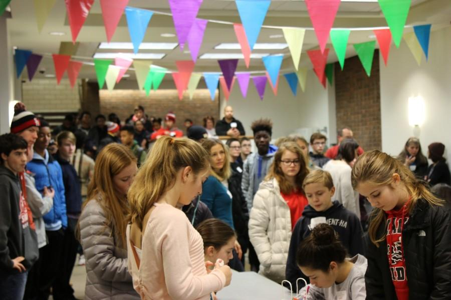 Students gathered in  the egress for the Packing Party Jan 18.
