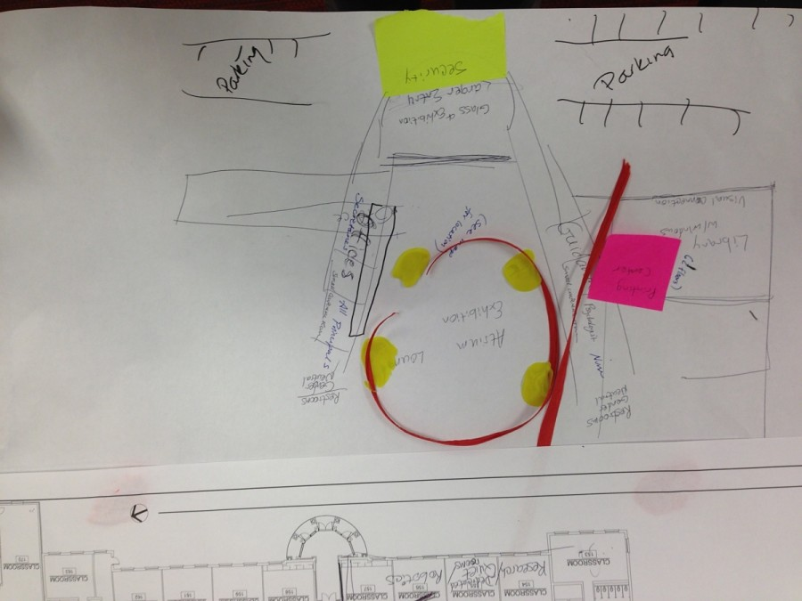 An idea for a larger atrium was sketched out by a high school parent.