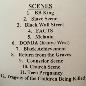 A list of scenes from the show displayed in the Sankofa program Feb. 26.