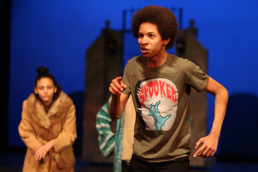 Freshman+Miles+McCallum+rehearses+a+scene+in+%22Spooked%2C%22+directed+by+Theatre+Department+Chair+Scott+Sumerak.
