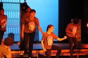 Freshman Harlan Firedman-Romell and Fisher Ilijasic practice a scene.