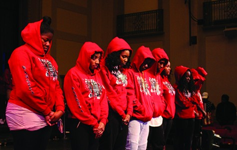 Sankofa members put their hoods up for a 10-second moment of silence to honor Trayvon Martin during the Feb. 26 Sankofa performance.