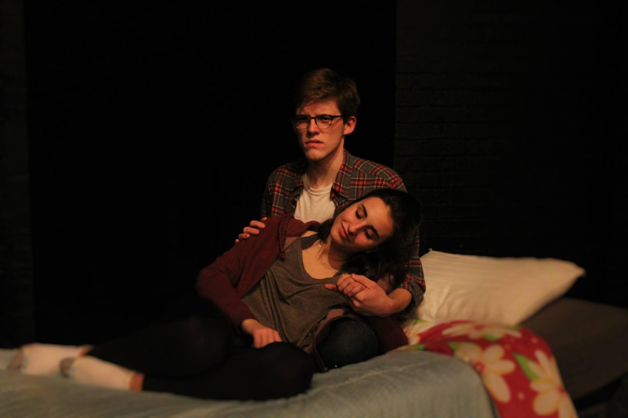Cooper (Gus Mahoney) consoles Lola (Nora Spadoni) in the artful show
