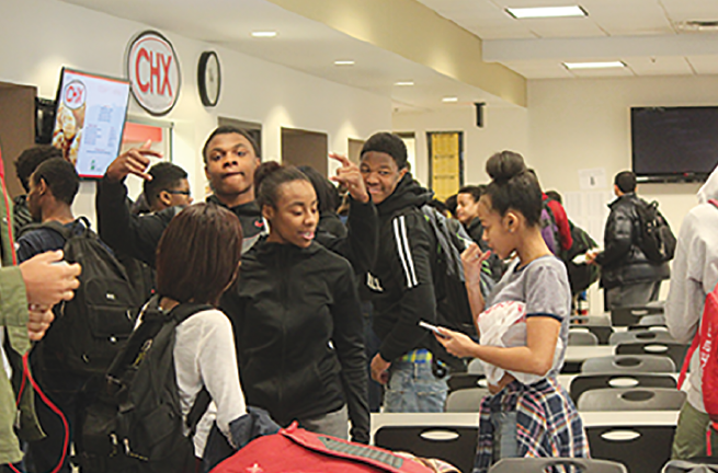 There are so many people at Shaker, you can surround yourself with versions of yourself, or people completely different than you.  Fourth period lunch displays the lack of racial intergration at Shaker Heights High School. Though the demographic of the school is varied, the groups in the lunch room are not.