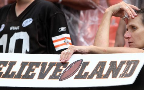 In this image featured in the documentary Believeland, the fan reflects an important theme of the film of heartbreak and suffering our Cleveland sports teams have brought the fans.