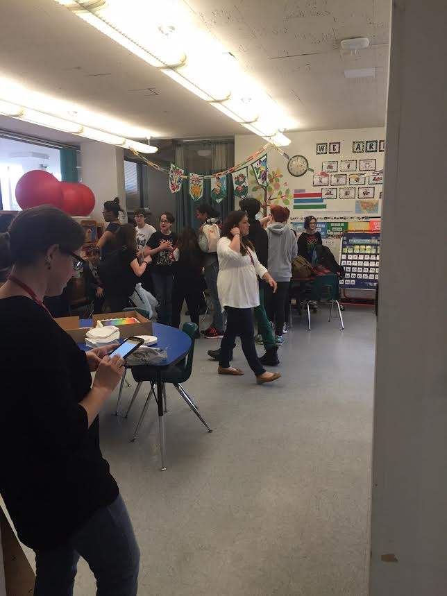 Students congregate at the  Middle School GSA's inaugural event