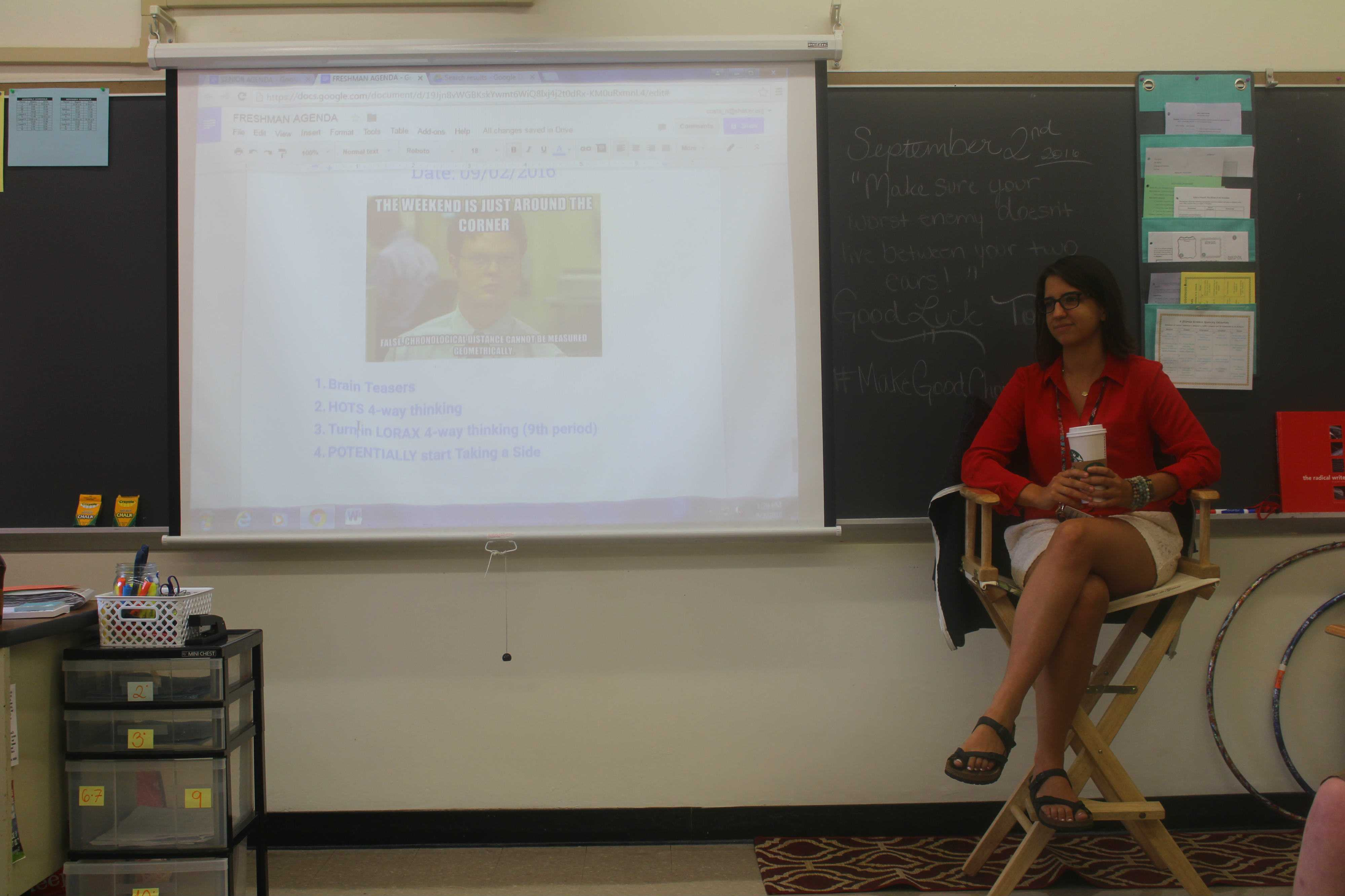 English teacher Nikki Costa teachers her 9th period 9 English Honors class Sept. 22.