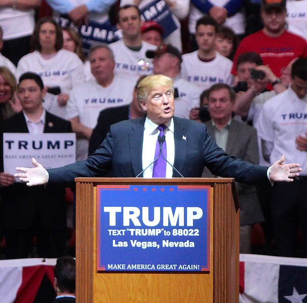 Donald Trump speaking with supporters at a campaign rally at the South Point Arena in Las Vegas, Nevada in 2016.
