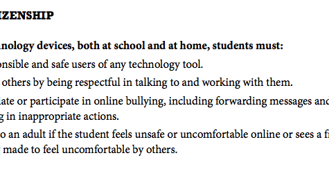 An excerpt about digital citizenship from the 2016-2017 Student Handbook.