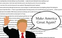 Throughout the campaign Donald Trump was constantly amidst controversy due to sexist, racist and otherwise hateful comments, some of which are featured in the illustration's background.