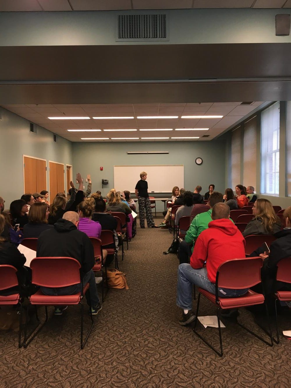 Assitant Superintendent and Director of Curriculum and Instruction Dr. Terri L. Breeden responds to questions from upwards of 50 community members during a discussion at Shaker Heights Public Library Saturday, April 29.