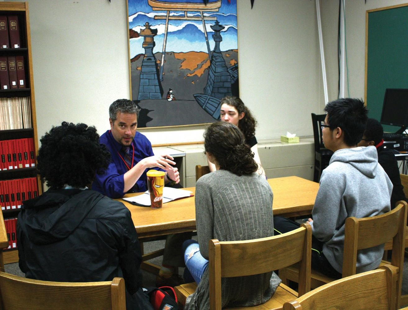 """Kuehnle meets with the Student Leadership Team on a Tuesday morning. """"We are working in support of the district's strategic plan,"""" he said."""
