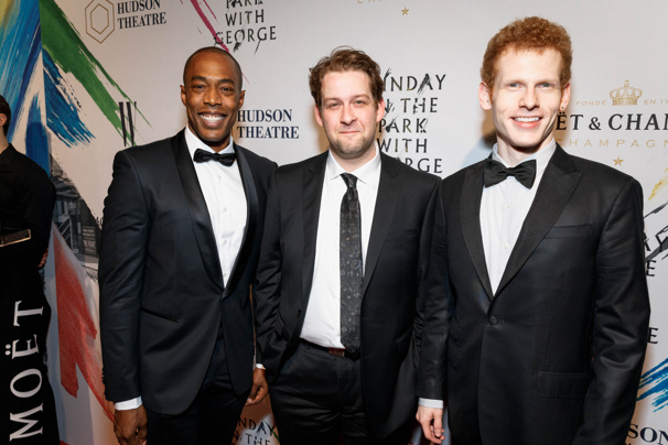 "Shaker graduates Michael McElroy, Andrew Kober and Max Chernin at the opening night of ""Sunday in the Park with George,"" which ran for 10 weeks on Broadway. All three participated in Shaker Theatre productions, including New Stages and Shakespeare's ""Twelfth Night."""