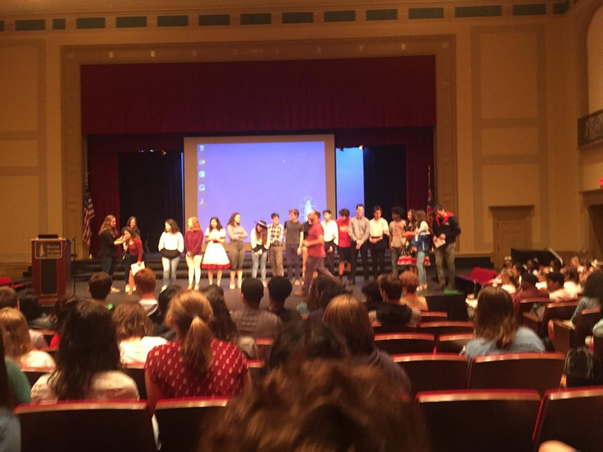 Shaker and Chilean students interact at the Chilean assembly on Sept. 11.