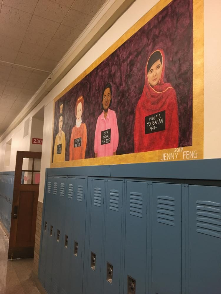 Mural by Jenny Feng painted in 2017 which depicts Wu Zetian, Elizabeth I, Rosa Parks and Malala Yousafzai, all of whom are women who changed the world.
