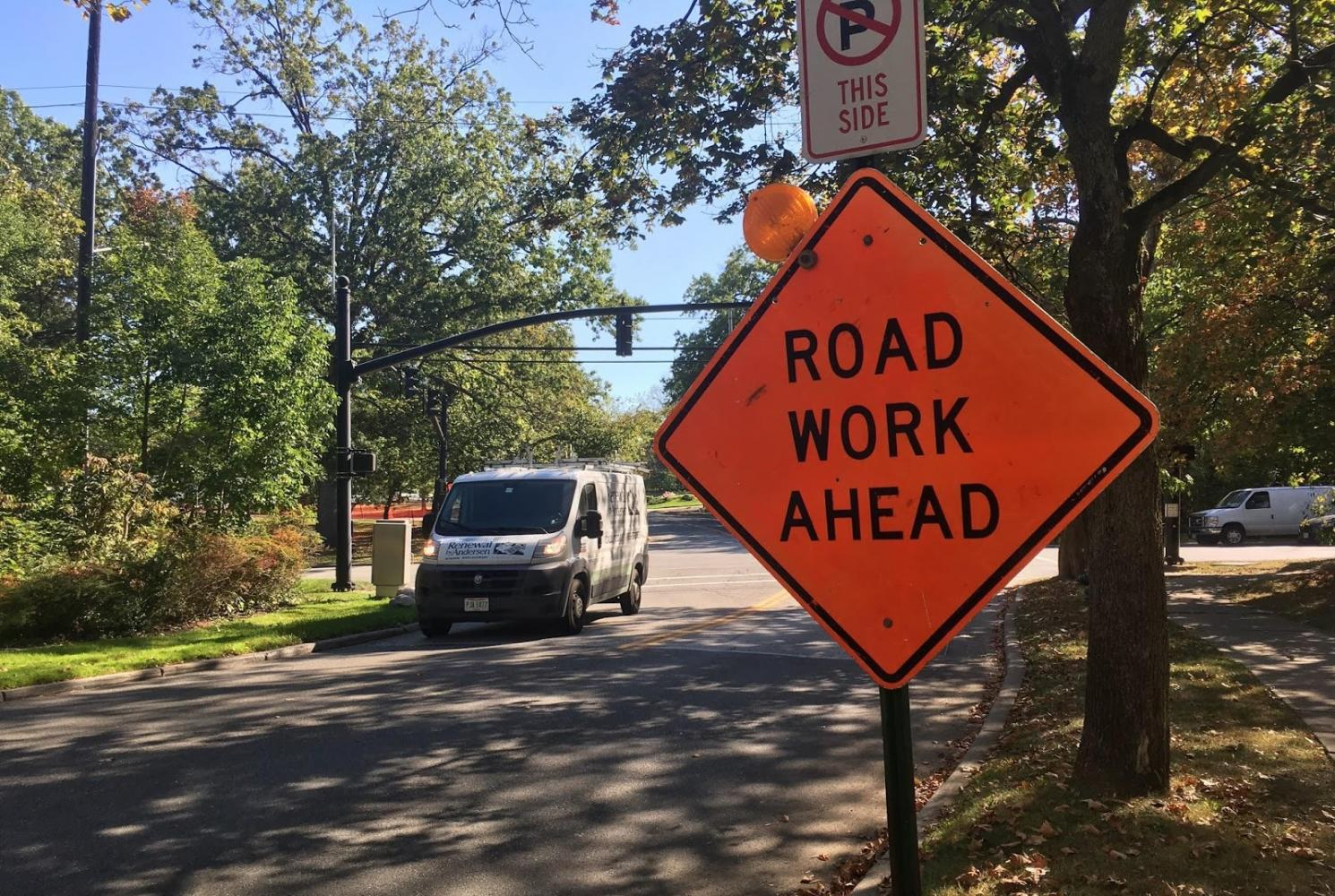 """A sign near the intersection of Lee road and Parkland drive warns drivers about road work in the area, one of seven projects -- according to the city's website. """"It definitely has an impact with the detours, but unfortunately  that is the price we have to pay to improve our city,"""" said Patricia Speese, director of the public works department."""