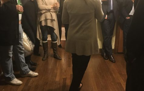 Board of Education member-elect Heather Weingart speaks to supporters and campaign aides shortly after receiving news of victory Nov. 7.