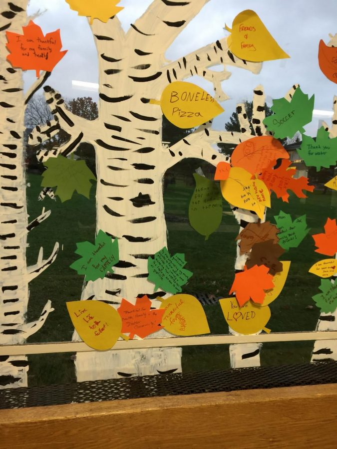 Students at SMS expressed what they're thankful for through leaves on a painted tree.