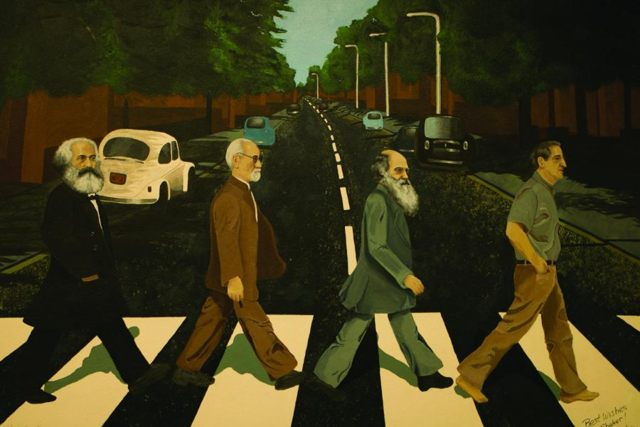 Mitchell's face was painted over Oct. 17 in a Room 230 mural, which depicts former history teacher Dann Parker crossing Abbey Road.
