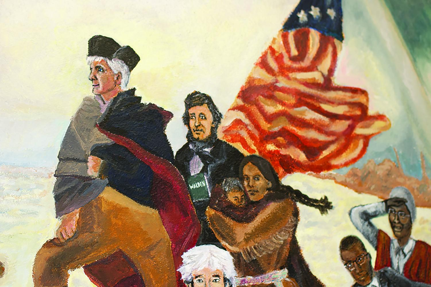 The mural of former teacher Timothy Mitchell painted as George Washington was met by controversy in 2011.