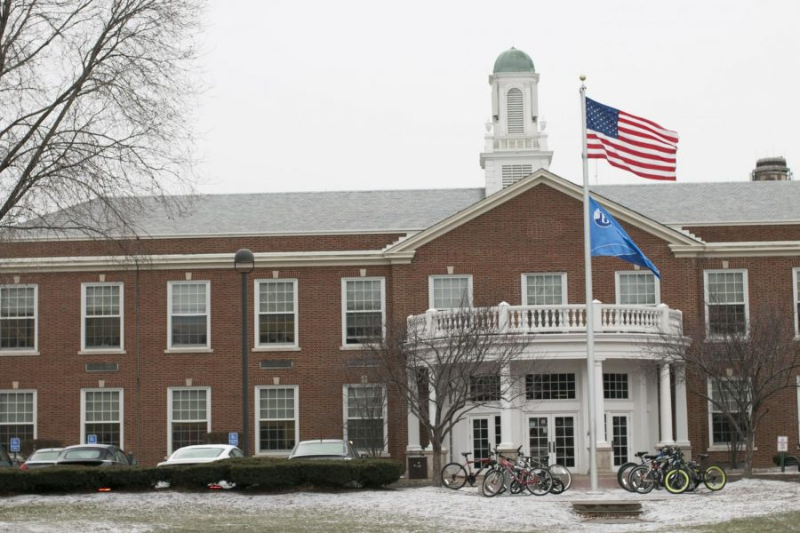"The American flag waves in front of the high school. ""While the pledge does include the phrase 'one nation under God,' it does not specifically support or advocate for any specific religion,"