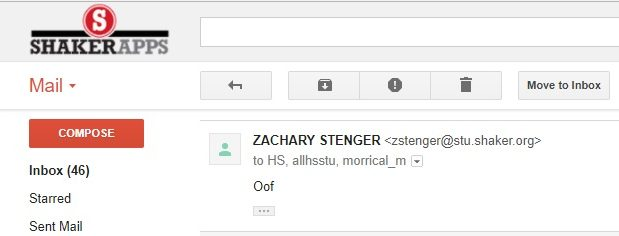 The first student to respond to the announcements email wrote,
