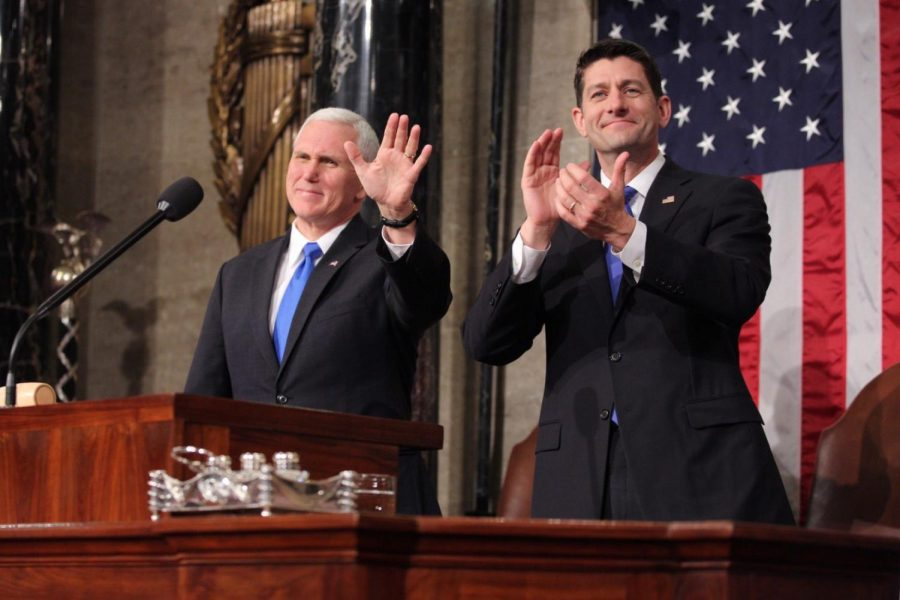 Vice President Mike Pence with Speaker of the House Paul Ryan at President Donald Trump's Feb. 28, 2017 address to a joint session of Congress. Ryan led the successful GOP tax bill effort in the House of Representatives and maintains that the plan will not increase the federal deficit.