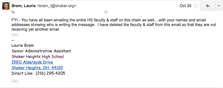Senior Administrative Assistant Laurie Brem responded to the students, asking them to stop.