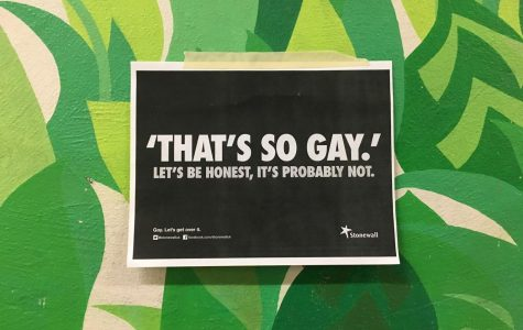 "Posters were put up by the GSA to challenge the usage of homophobic language in the school.  ""I don't think people understand that making a joke -- saying, 'You're gay!' -- is homophobic,"" junior Claire Burchmore said."