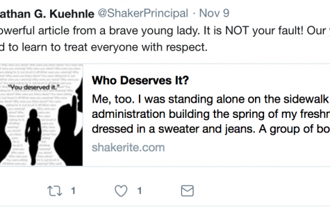 "Principal Jonathan Kuehnle posted a Nov. 9 tweet, stating, ""Our boys need to learn how to respect girls."" The tweet was in response to Spotlight Editor Ainsley Snyder's column, 'Who Deserves It?,' which described an experience with sexual harassment from boys on school grounds."
