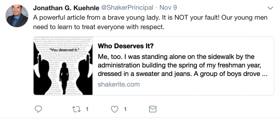 Principal+Jonathan+Kuehnle+posted+a+Nov.+9+tweet%2C+stating%2C+%E2%80%9COur+boys+need+to+learn+how+to+respect+girls.%E2%80%9D+The+tweet+was+in+response+to+Spotlight+Editor+Ainsley+Snyder%E2%80%99s+column%2C+%E2%80%98Who+Deserves+It%3F%2C%E2%80%99+which+described+an+experience+with+sexual+harassment+from+boys+on+school+grounds.