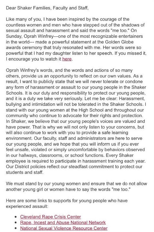 Inspired by Oprah Winfrey's Golden Globe speech from the night prior, Superintendent Gregory C. Hutchings, Jr. sent a Jan. 8 email to parents and staff affirming the district's commitment to preventing sexual harassment and assault.