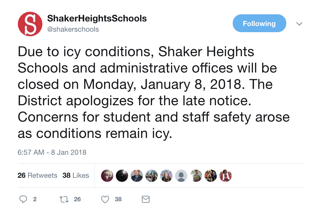 Community members responded to a Shaker Heights City Schools District tweet proclaiming a snow day Jan. 8, criticizing the late announcement.