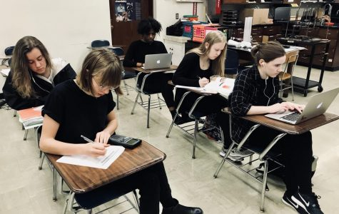 "A senior chemistry class works on an assignment during the blackout day. ""It could potentially really influence our congressman and our senators and show them that just because we can't vote, and a lot of us aren't 18, we can still have a voice in society,"