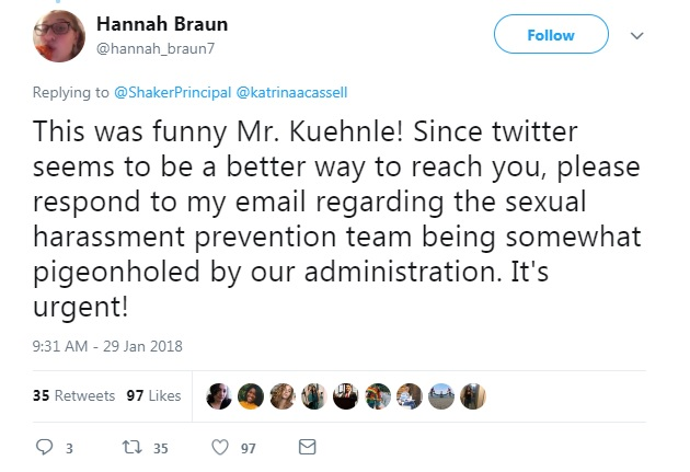 Junior Hannah Braun responds to Principal Jonathan Kuehnle's Jan. 29 tweet, which resulted in a meeting on the subject of HS sexual harassment.