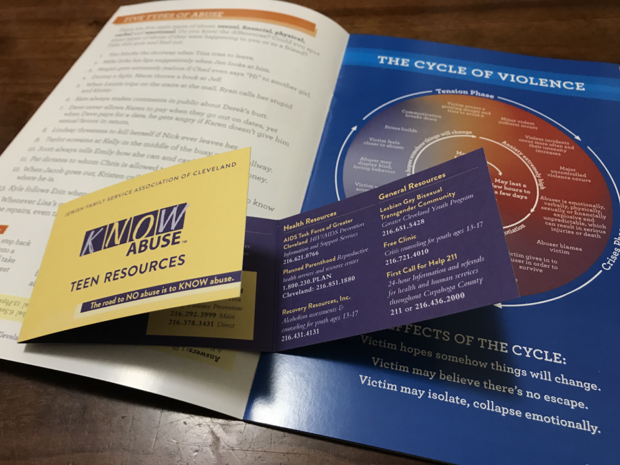 "Students received pamphlets that included guides to healthy relationships and to recognizing warning signs for an abusive relationship. ""I would hope that if people see abuse that they would speak up or tell someone,"