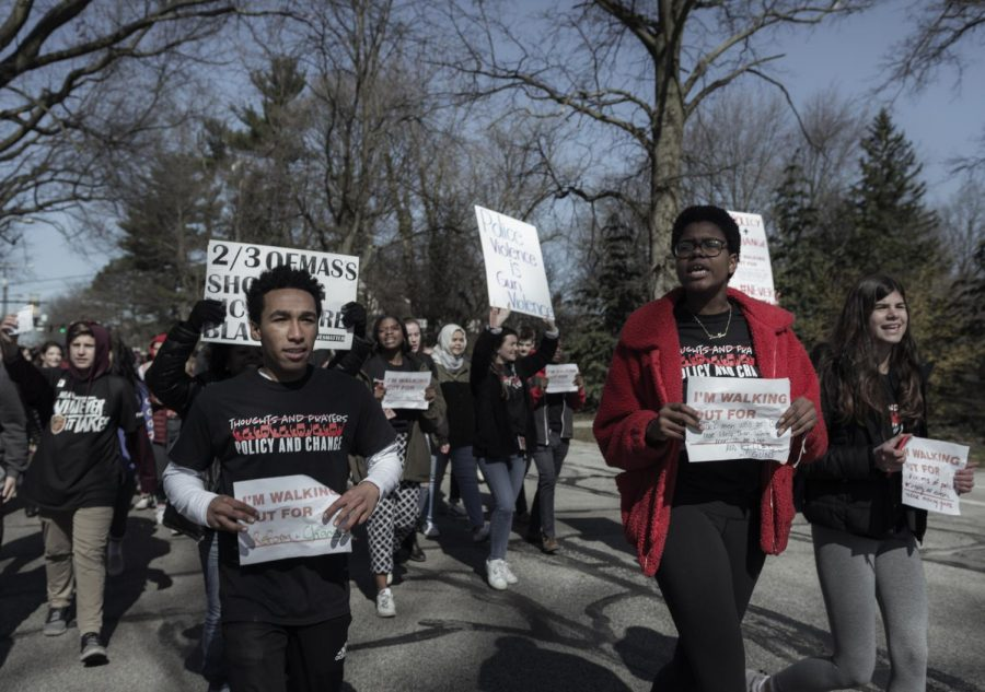 Protest organizers led the march around the high school and Woodbury Elementary School.