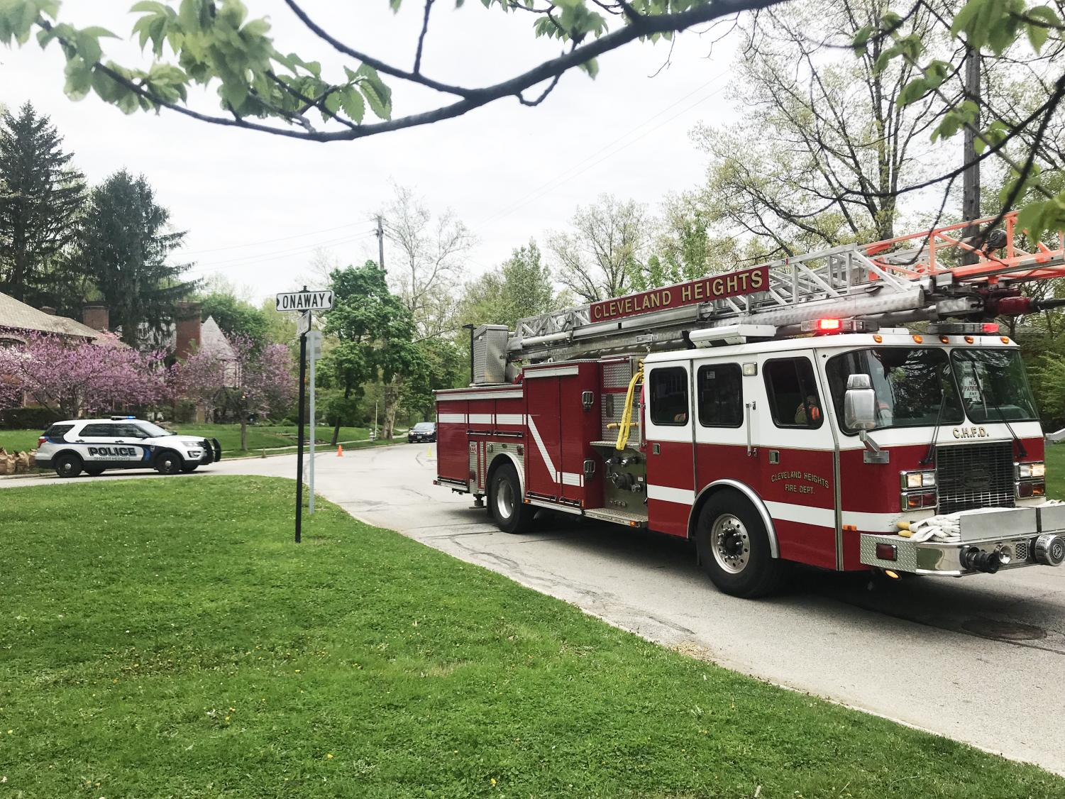Emergency vehicles surrounded the perimeter of the high school after students were evacuated and dismissed due to a fire.