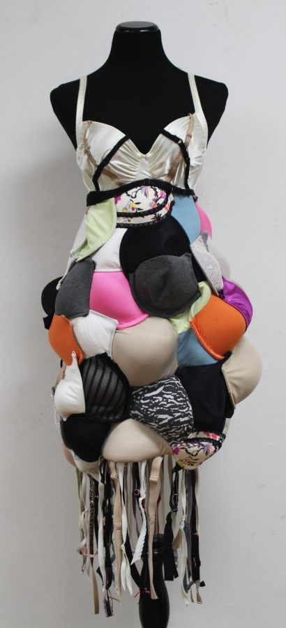 """""""The Bra Dress"""" is currently on display at the The Ohio Governor's Youth Art Exhibition, an exhibition open to all schools in Ohio."""