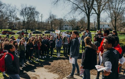Student participants in the nationwide walkout on April 20 gather to hear speeches from classmates.