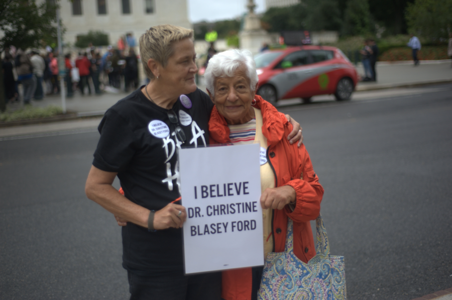 Demonstrators protesting Brett Kavanaugh's nomination to the Supreme Court.