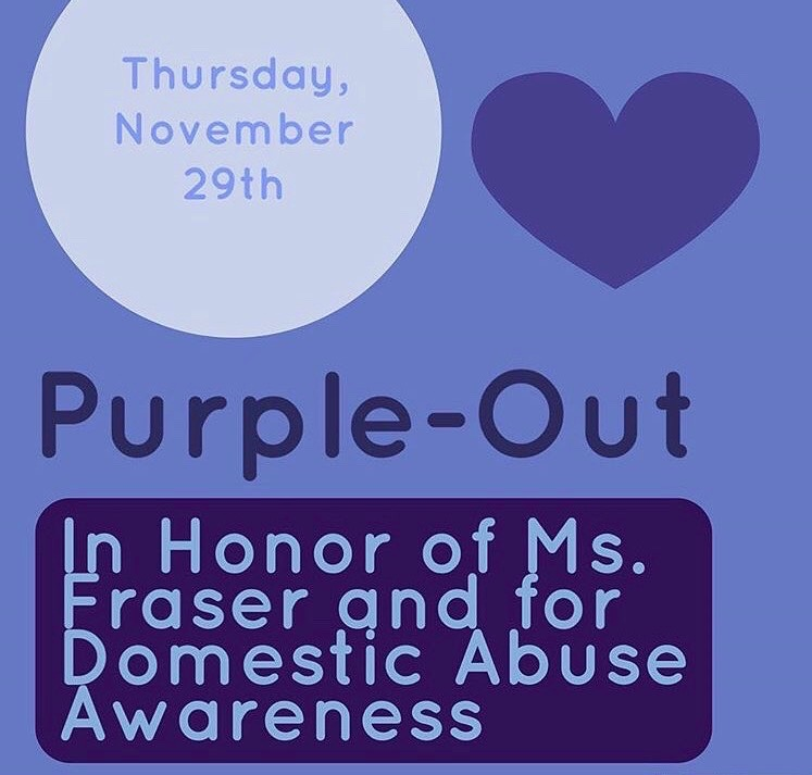 Participants aimed to promote awareness for domestic violence by wearing purple.