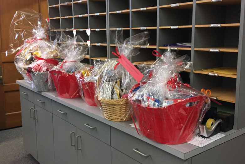 Baskets for Woodbury and Mercer schools await delivery. They were part of the high school community's efforts to display kindness this week.