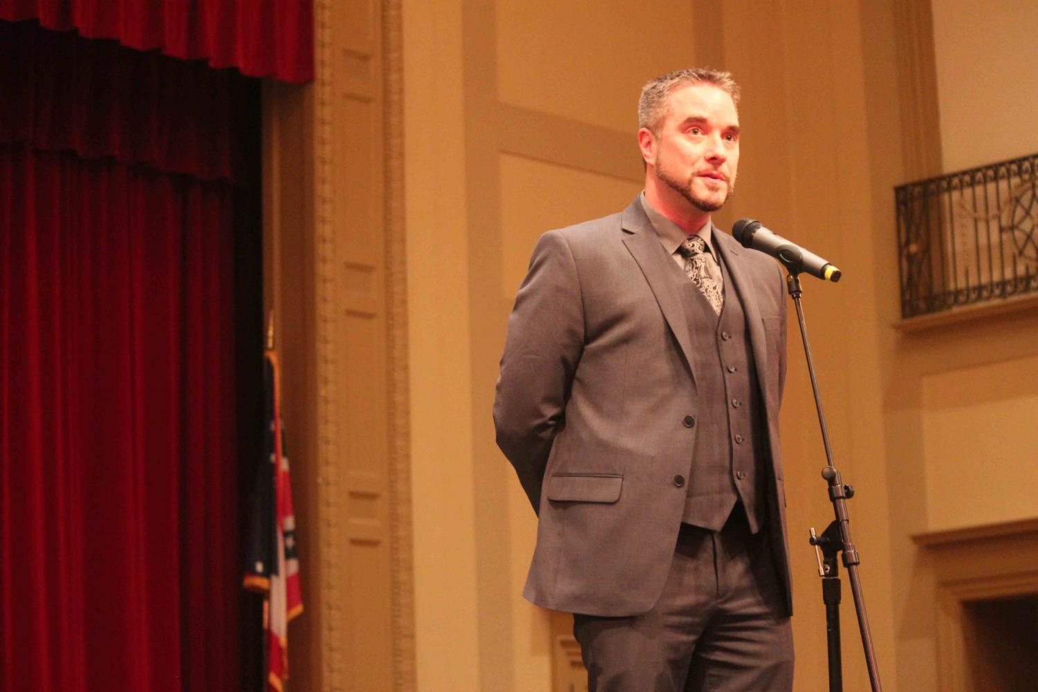Shaker Heights High School Principal Jonathan Kuehnle speaks with community members, parents, students and staff on March 7, 2016. Kuehnle's placement on leave was announced in an email sent to parents and staff this evening.