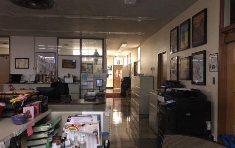 The high school office sat empty earlier this evening.