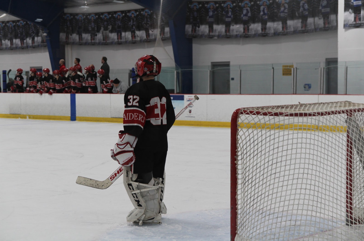 Freshman goalie Garrett Ritts looks on as Shaker played top ranked Gilmour Friday night.