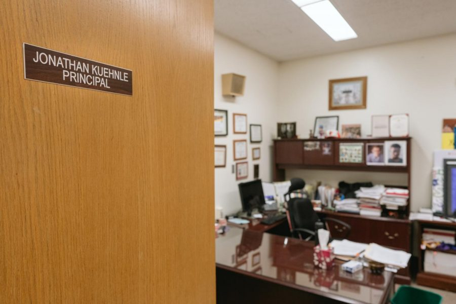 Former Principal Jonathan Kuehnle's office sits unoccupied Jan. 10, just over two months after he was placed on leave. Kuehnle signed an agreement with the district Jan. 9, stating he would work for the district remotely for the remainder of his contract.
