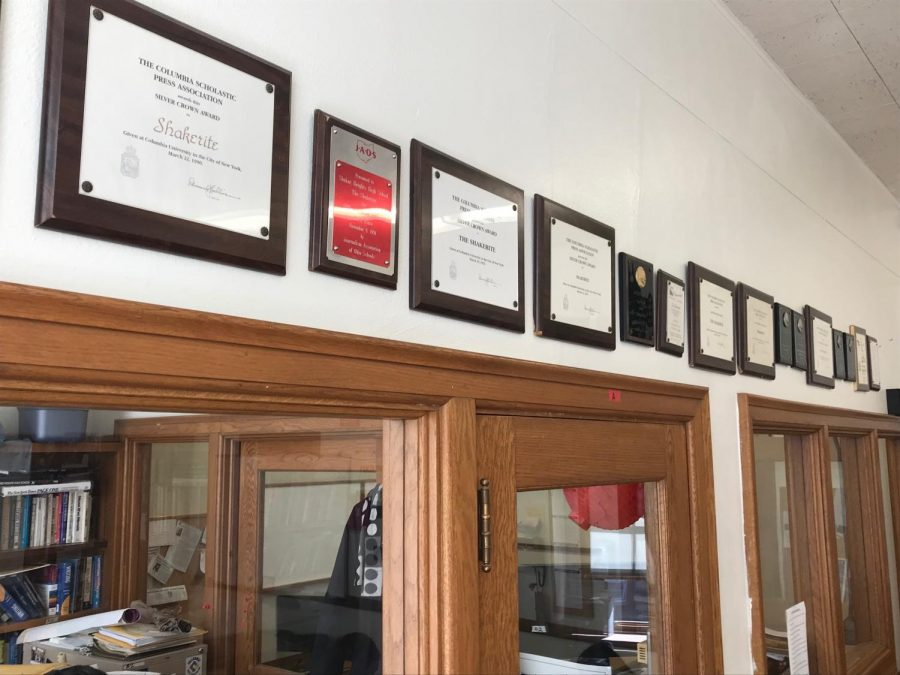 Various awards hang in the Shakerite newsroom.